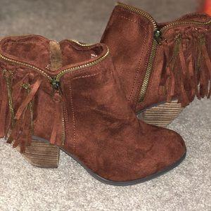 Burgundy fringe boots